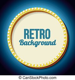 Retro frame circle with neon lights - Golden retro frame...
