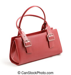 red leather ladies handbag on white background