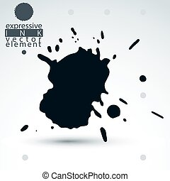 Vector brush painted ink blob, eps8 smudge background Web...