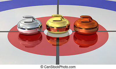 Curling - Gold, silver and bronce Curling stones near the...
