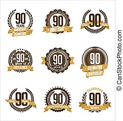 Anniversary Badges 90th - Vector Set of Retro Anniversary...