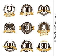 Anniversary Badges 90th - Vector Set of Retro Anniversary...