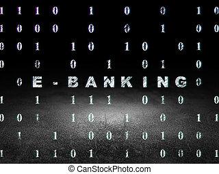 Finance concept: E-Banking in grunge dark room - Finance...