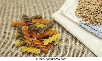 Rotate Pasta, and wheat - Rotate Pasta flour and wheat on...