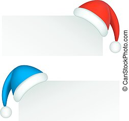 Santa Claus hat - Santa Claus red and blue hat on a corner...