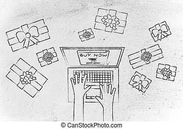 laptop placing online order surrounded by presents - online...