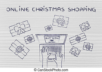 laptop surrounded by presents, with text Online Christmas...