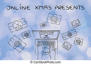 laptop placing online order surrounded by gifts, with text...