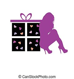 gift box with beauty girl vector in colorful
