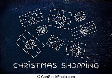 set of wrapped up presents with text Christmas shopping -...