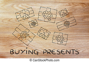 set of wrapped up gifts with text Buying presents - buying...