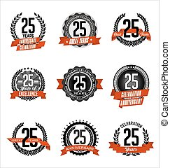 Anniversary Red Badges 25th years - Vector Set of Retro...