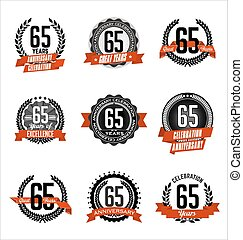 Anniversary Red Badges 65th years - Vector Set of Retro...