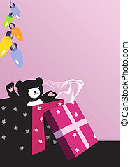 teddy bear with gift box and balloons