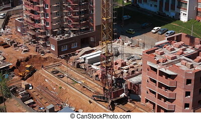 Operation of construction crane Building process
