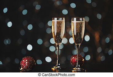 Holiday champagne glasses