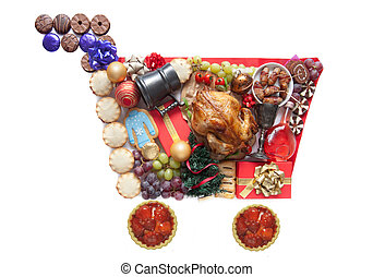 Christmas shopping cart icon - Christmas foods, drinks and...