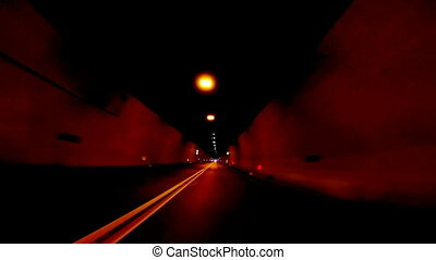 Fast Car Driving through tunnel, abstract with motion blur...