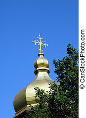 Gold Finial on Monastery - Gold finial tops the dome on the...