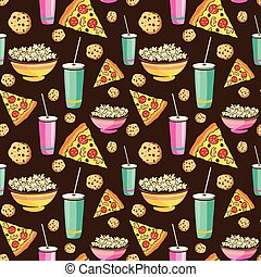 Vector Colorful Sleepover Movie Night Party Food Seamless Pattern. Pizza Drink Cookie Popcorn Snack.