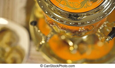 Samovar with tea and pies - Puff is a Russian national...