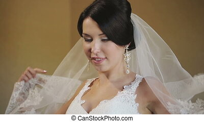 Bride Covers the Face Veil - beautiful bride covered with...