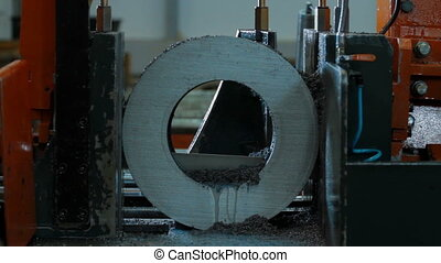 cutting process of blank detail by electrical saw -...