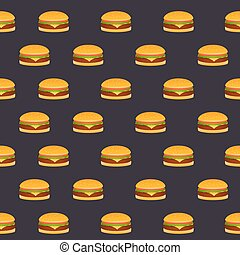 Seamless pattern of the burgers on a black background