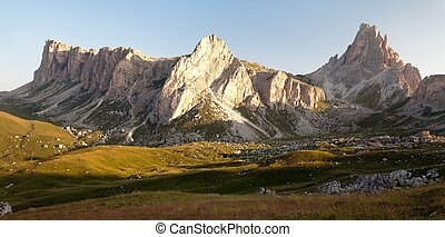 panoramic view of mount Croda da Lago, one of beautiful...