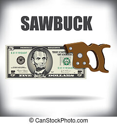 Five dollar bill sawbuck whimsical money graphic