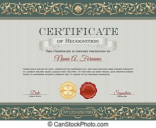 Vintage Certificate of Recognition. Royal Green and Gold...