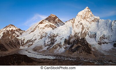 Everest and Nuptse from Kala Patthar - nightly view of...