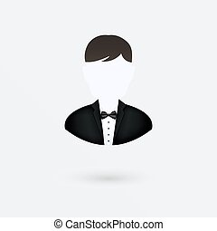 Vector user icon of man in business suit. Isolated on white.