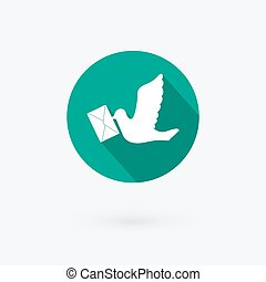 White dove with a letter icon in flat style. Vector illustration.