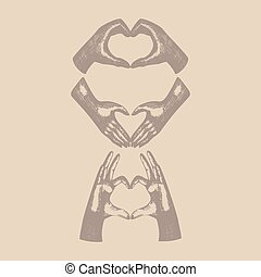 Hands gesture, hand in heart shape,