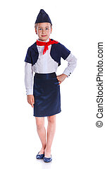 Charming Little Stewardess Dressed In Blue Uniform. Isolated...