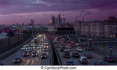 Timelapse of Moscow center Long exposure video with traffic...