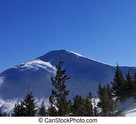 Winter mountains at sunny windy day Ukraine, Carpathian...