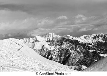 Black and white snowy mountains Caucasus Mountains, Georgia,...