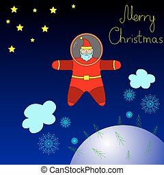 Santa is flying in space above the earth