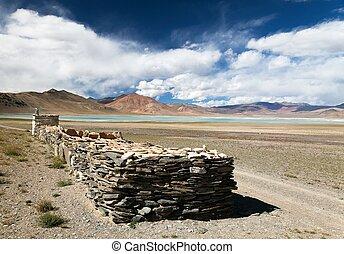 lake and lake Kar with prayer mani walls, Ladakh - Beautiful...