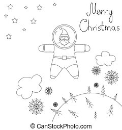 Santa is flying in space above the earth. contour Plot.