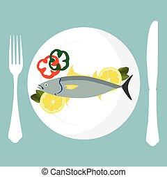 Tuna fish on plate