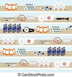Pharmacy shelves background