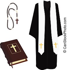 Bible, rosary beads and costume - Vector illustration church...