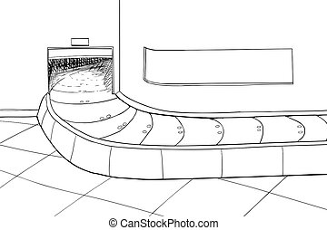 Baggage Claim Area with Carousel - Outlined illustration of...