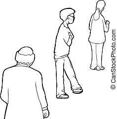Outline of People in Line - Outline cartoon of three people...