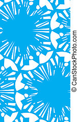 White Repeating Floral Pattern - White on blue seamless...