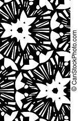 White Starburst Repeating Pattern - Seamless white star...