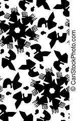 Monotone Repeating Abstract Heads - Monotone black and white...